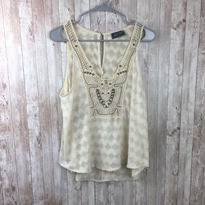 ASTR Cream Sheer Beaded Tank Top Size Medium